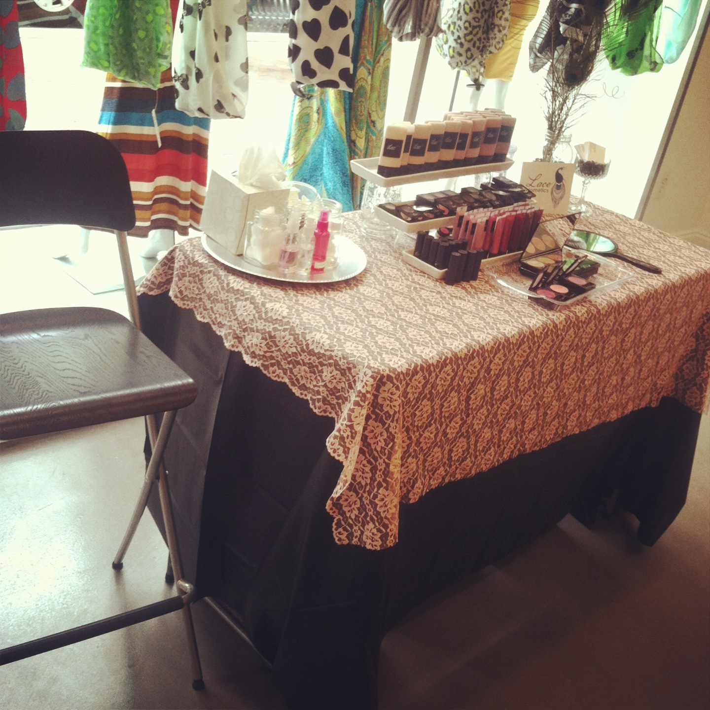 lace cosmetics event table