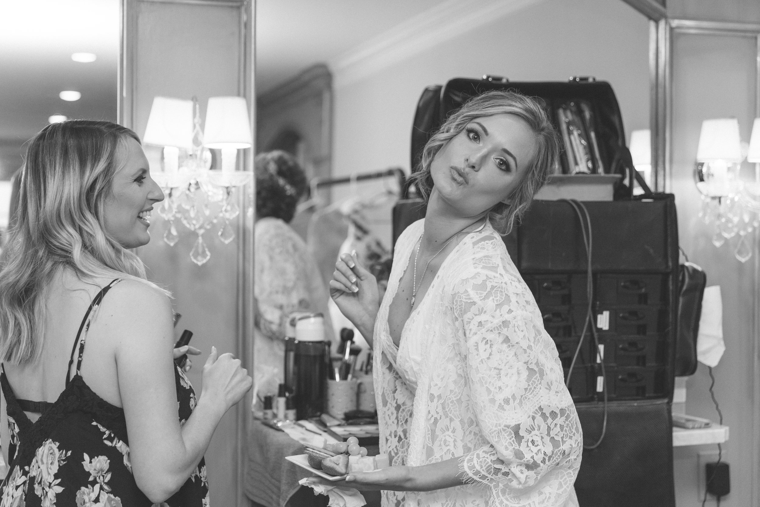 bride being silly getting ready