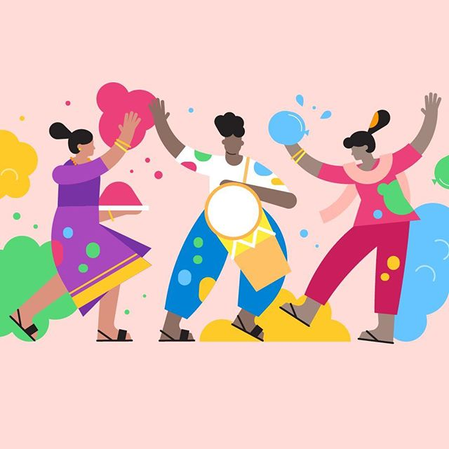Happy Holi everyone! @freshaugust created a great set of illustrations celebrating this awesome holi for 2019 #colorrun #happyholi