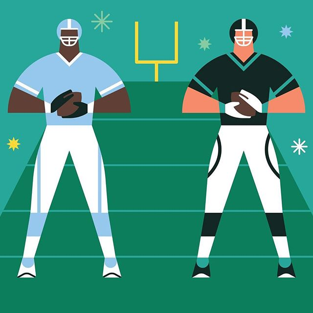 Here's a few members of the #gridirongang for Super Bowl Sunday in the #googleplay store. Illustrated by @matthewhollister. #superbowlshuffle