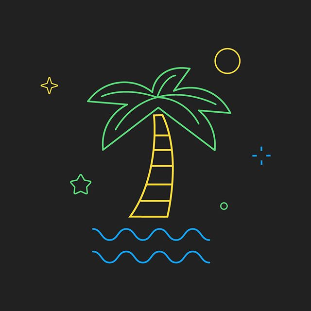 Summer's almost over but before we leave town to squeeze in some river time, here's a great set of #neon inspired pieces from @philspehar for our Summer #googleplaygames fest. #illustration #vector #chillinisland #beachgoth
