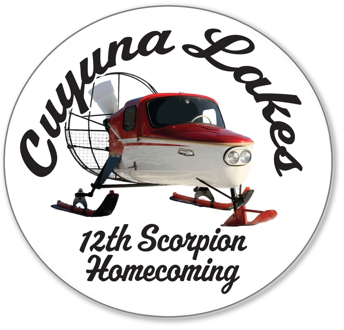 Support the event and the  Cuyuna Lakes Chamber of Commerce  by purchasing your official Scorpion Homecoming 2016 button at the on-ice warming tent. At the 2016 Homecoming we celebrate not only the 1970 Stinger, but also all non-snowmobile machines manufactured by the Crosby-Ironton based firm during its 20+ year existence, including this innovative 1963 air sled - capable of speeds over 110 miles per hour! And after twelve years, this commemorative button is still only $3.00! All profits support the  Cuyuna Lakes Chamber of Commerce.