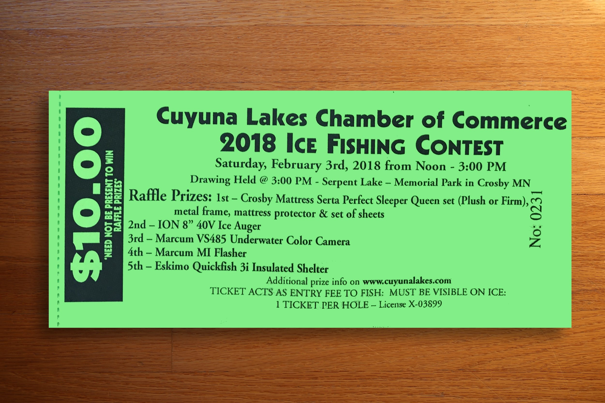 Sample Raffle Ticket - 2018 Ice Fishing Contest