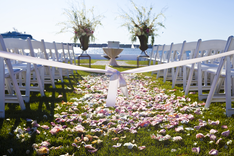 Pink, Champagne and Ivory Ceremony Setup at Belle Mer in Newport, Rhode Island