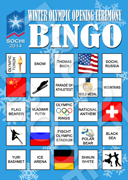 Opening Ceremony Bingo! Use Gummy Rings as markers!    http://tinyurl.com/kmaebgf