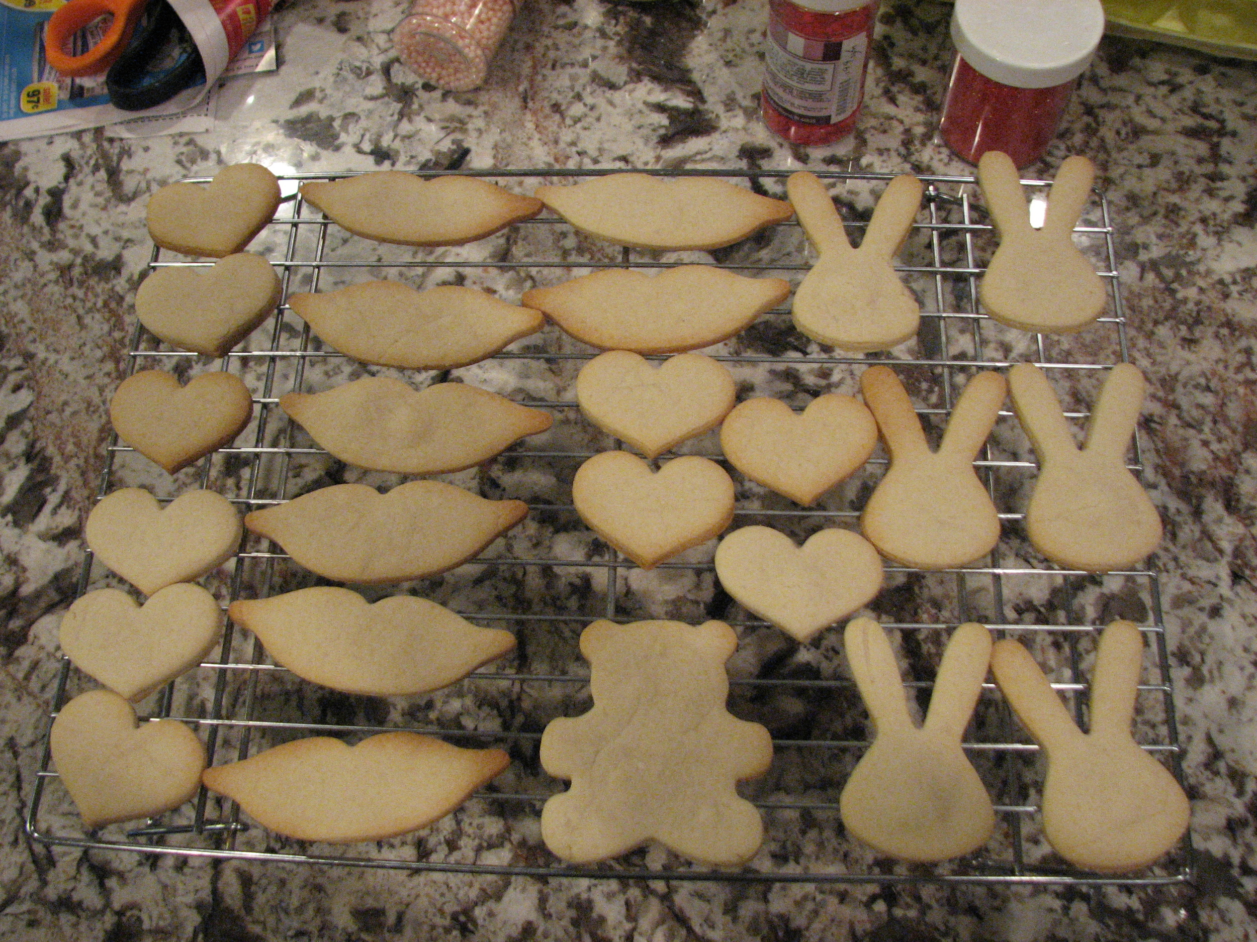 There was extra cookie dough so we baked extra hearts, lips, bunnies and a teddy bear.