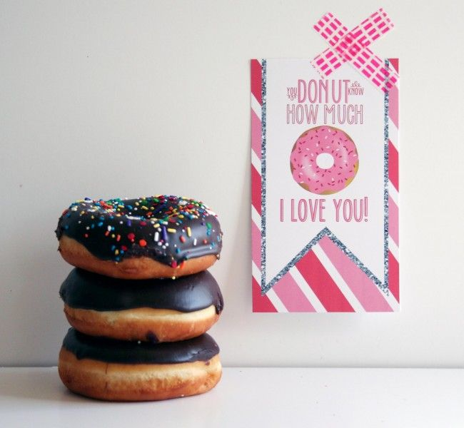 Buy some delicious donuts and print this cute printable to delight your Valentine! http://www.pinterest.com/pin/126523070755872366/