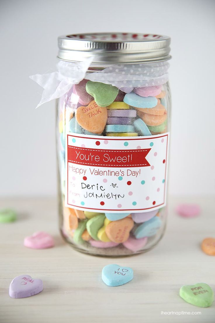Those cute little conversation hearts in a glass container and this printable make a great and personal present!  http://www.pinterest.com/pin/157555686938260174/