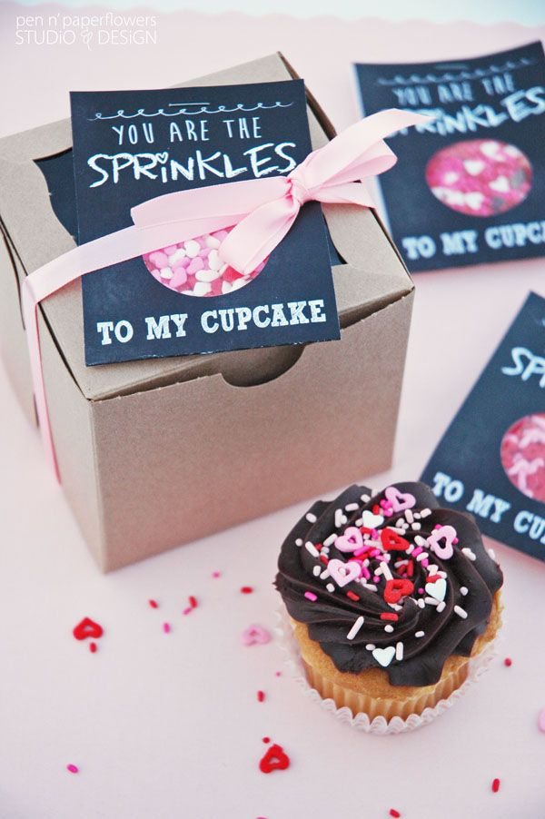 Buy a box of cupcakes, some sprinkles and use this adorable chalkboard inspired printable for your special someone.  http://www.pinterest.com/pin/120682464989307556/
