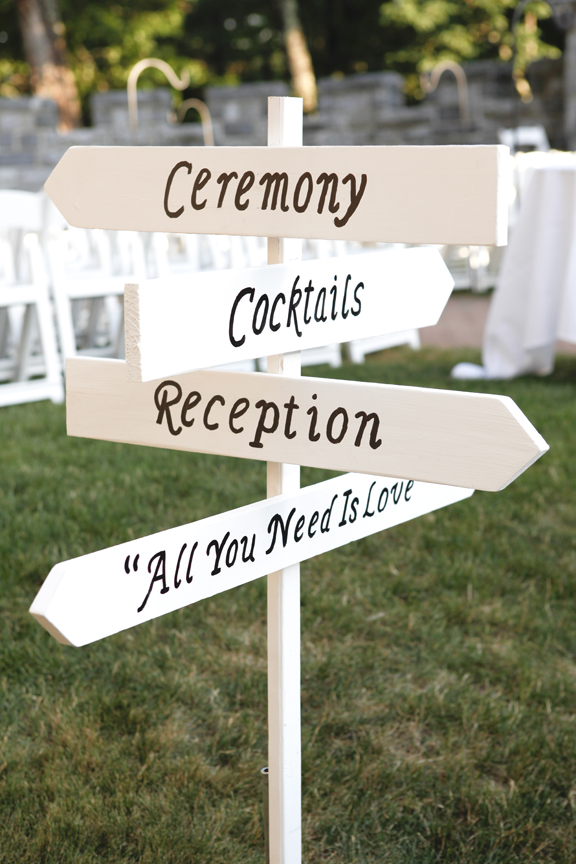 A great directional sign created by the Father of the Bride.