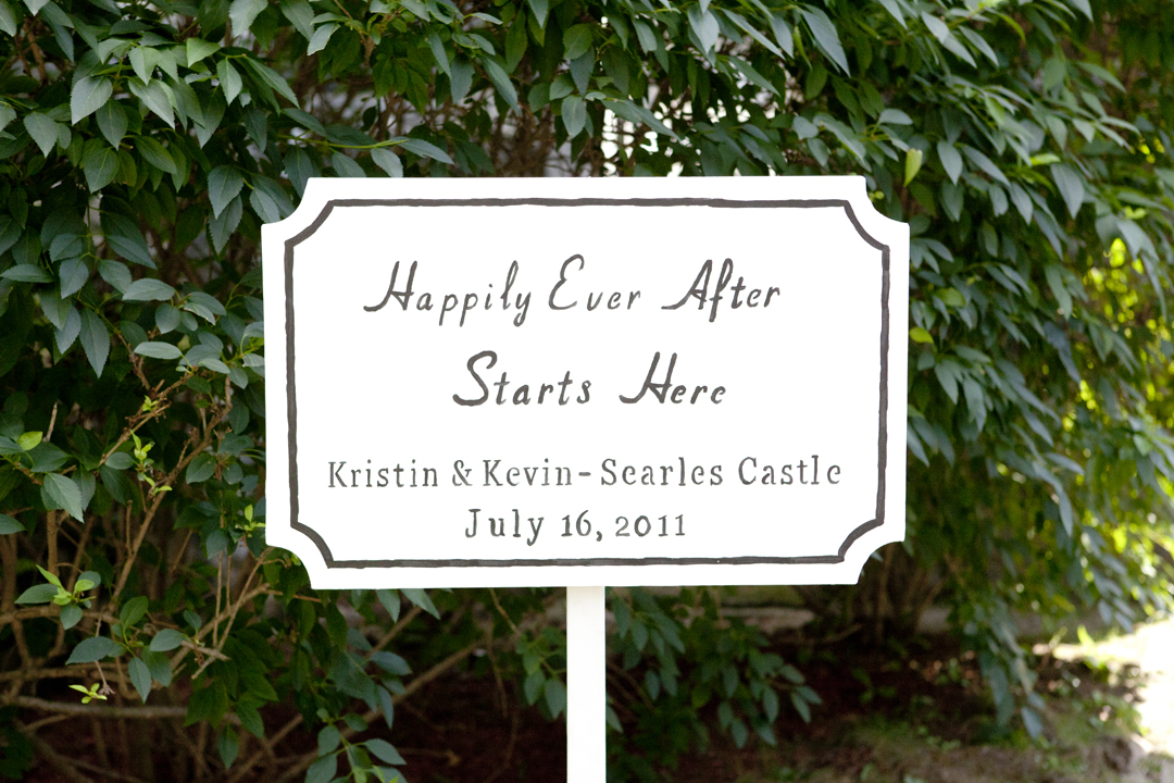 One of the wedding signs designed by the Bride's father.