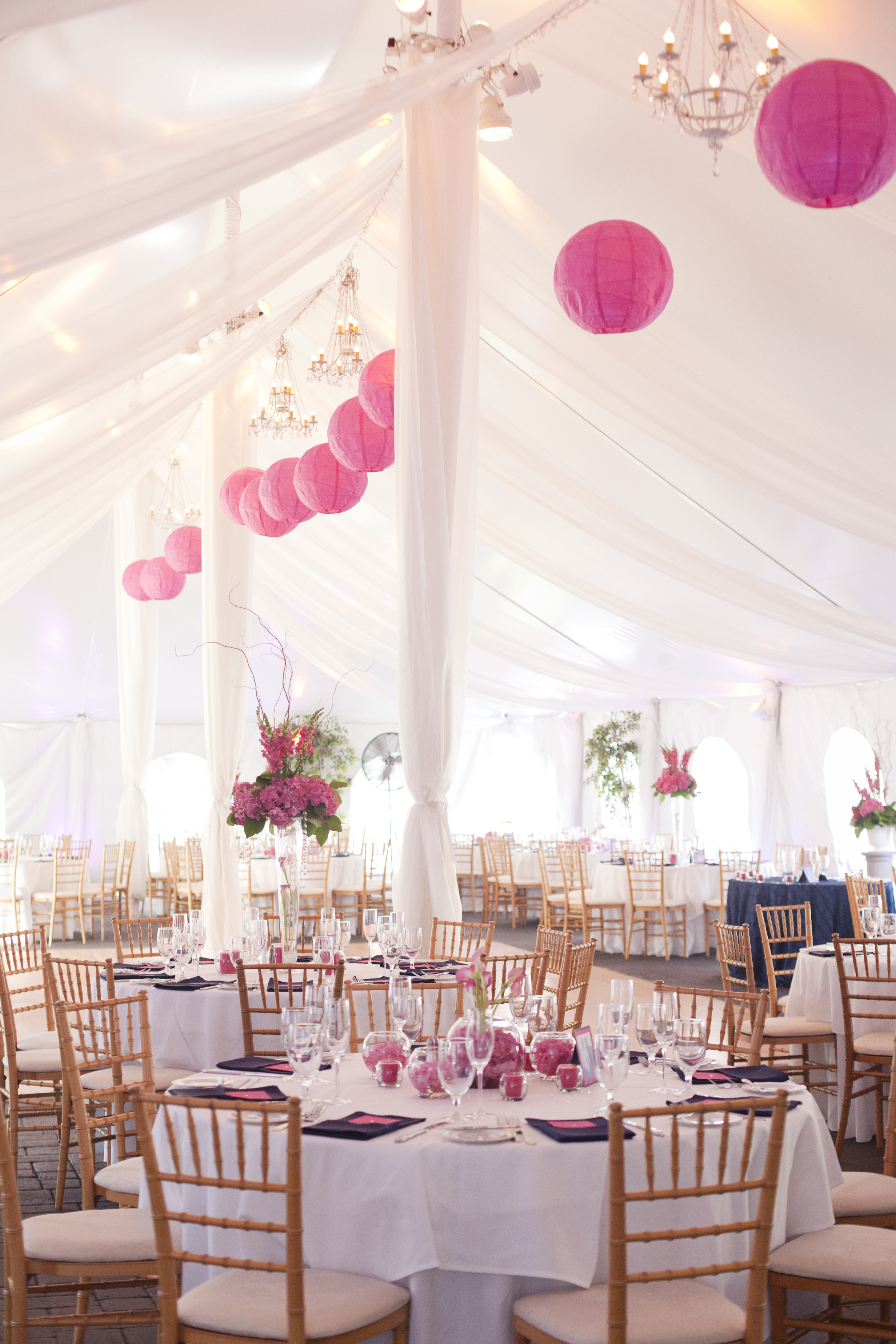 A light and airy reception tent waits for guests to have dinner and dance the night away!