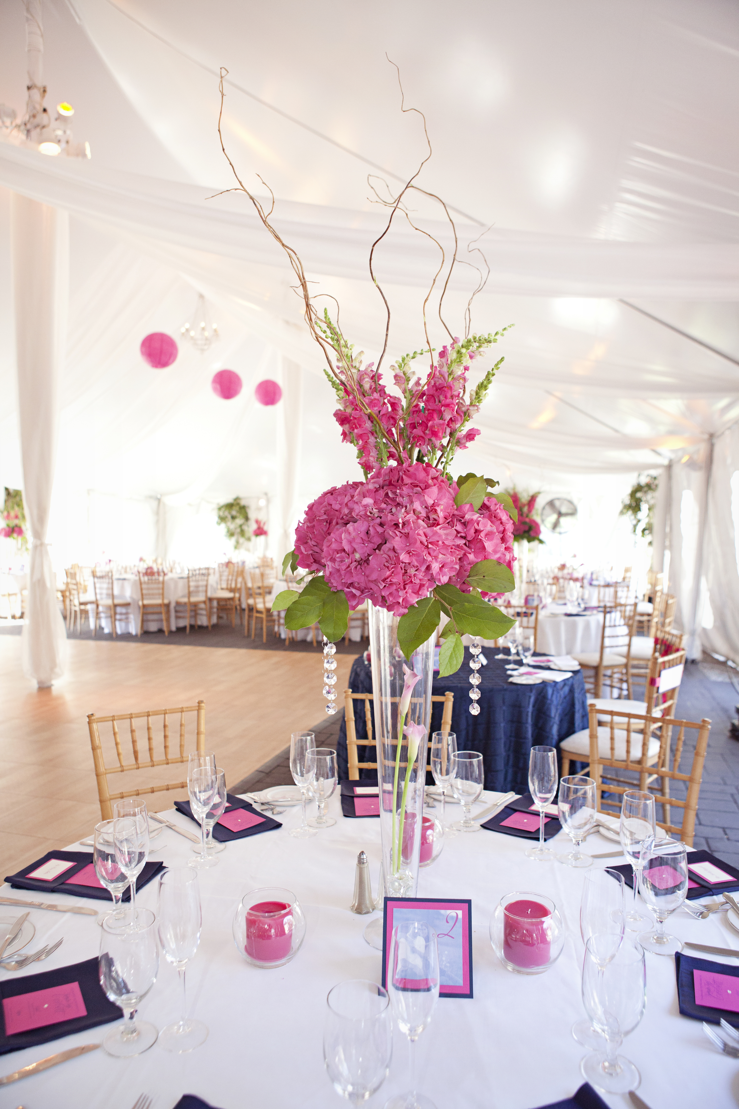 High Centerpieces featuring snapdragons, curly willow and hydrangea. Navy bengaline napkins and fuchsia menu cards finish the reception tables with a pop of color.