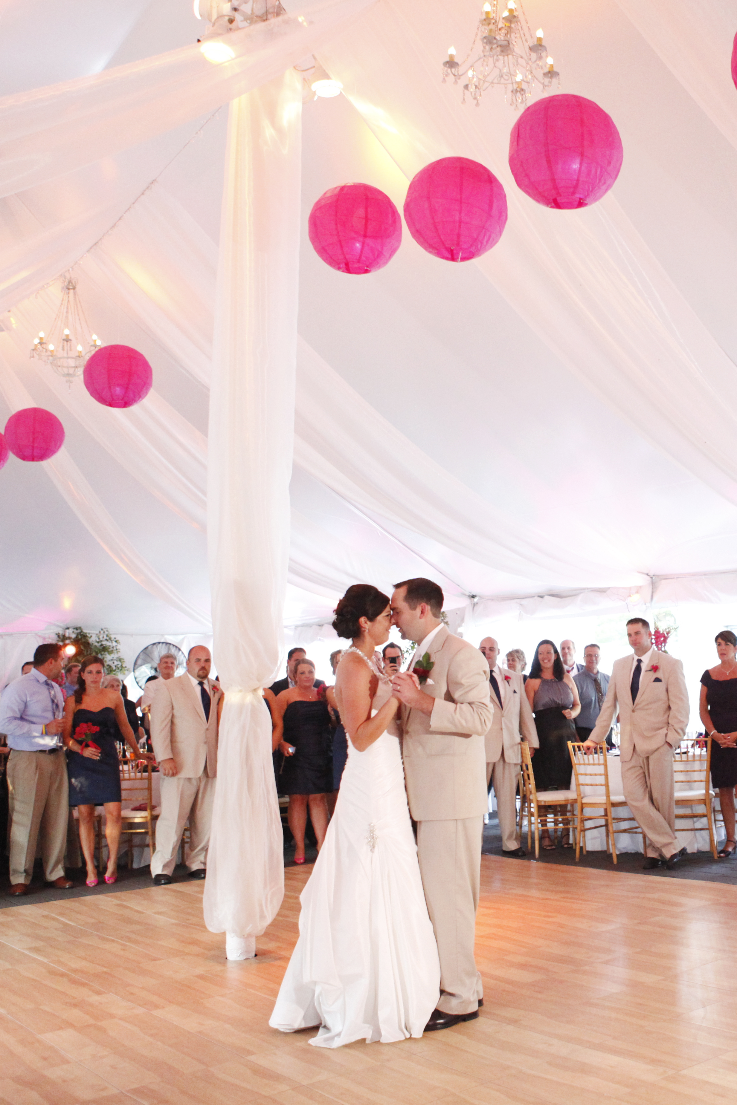 A first dance in the beautiful tent.