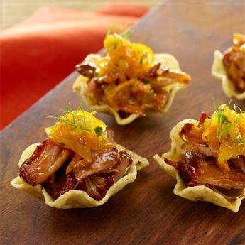 Smoked Paprika Shredded Pork with Orange Fennel Marmalade in a Tortilla Cup from McCormick
