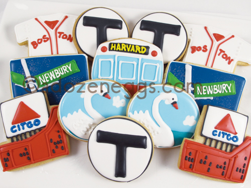 This Boston collection of cookies from A Dozen Eggs is a great addition to your welcome bag. They can even bag them and put on a custom topper for you!