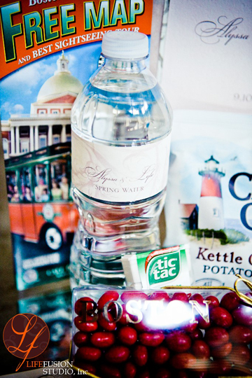 This Boston Wedding Welcome Bag included bottles of water with a customized label, tic tacs, Cape Cod Potato chips, a Welcome Letter and Boston Baked Beans Candy.