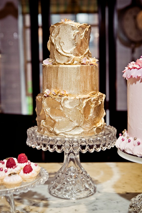 We love this gold cake as the centerpiece to a fun dessert display!