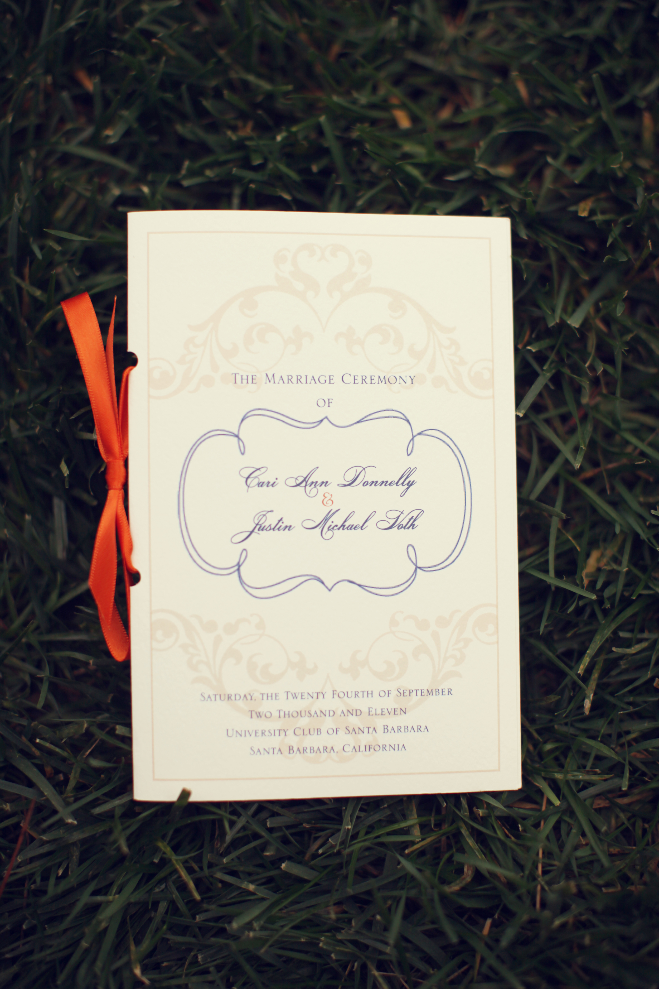 This beautiful program with a pop of color in the ribbon was perfect for this Santa Barbara ceremony. For more images from this wedding, click  here .