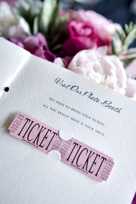 This bride had a Photo Booth and she wanted her guests to know about it so we created these custom tickets with her wedding date on the ends and we hand punched and hand perforated the tickets. We loved this detail!