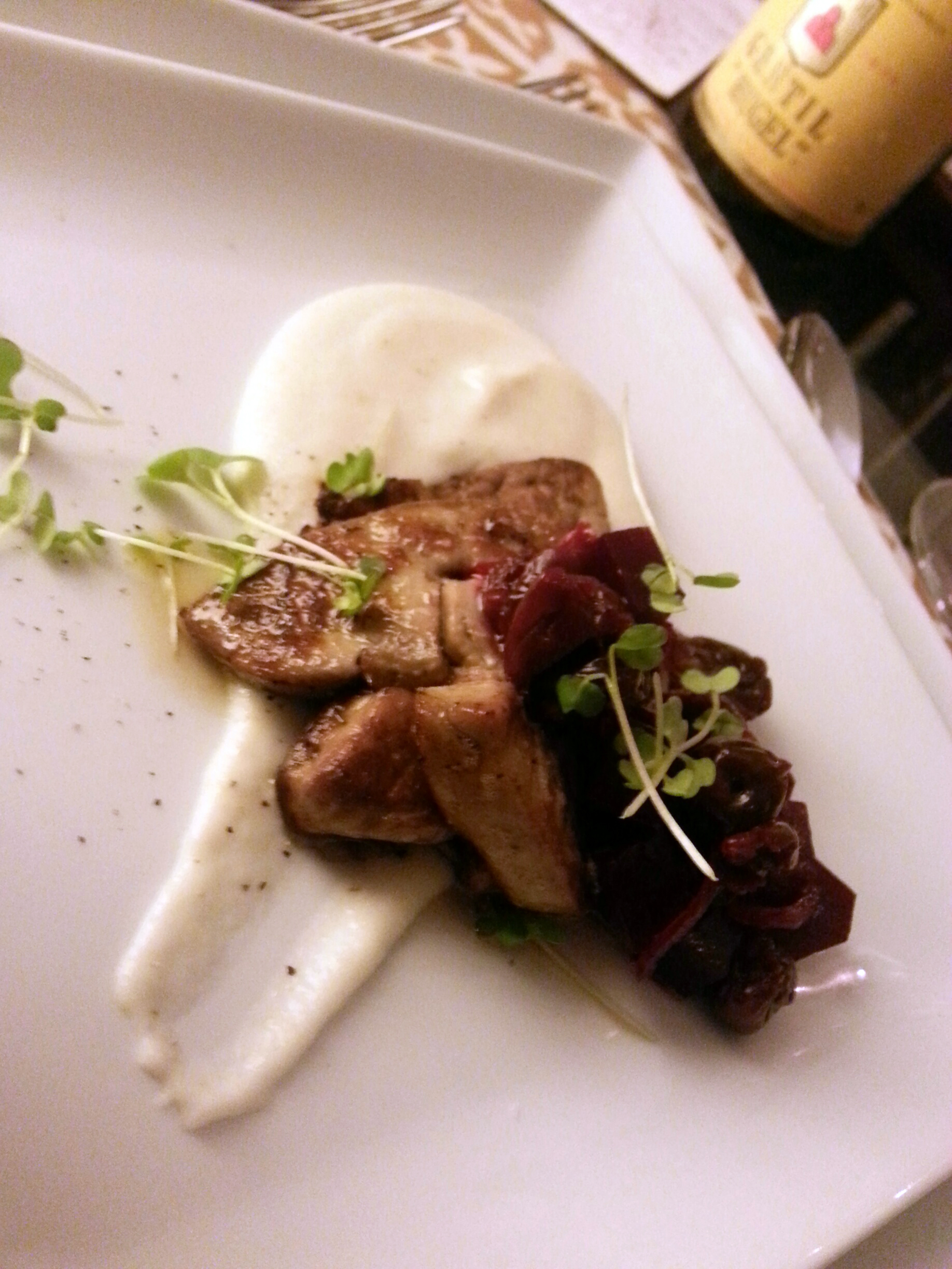 Seared Hudson Valley Foie Gras with Sunchoke Purée, Pickled Cherries & Beets