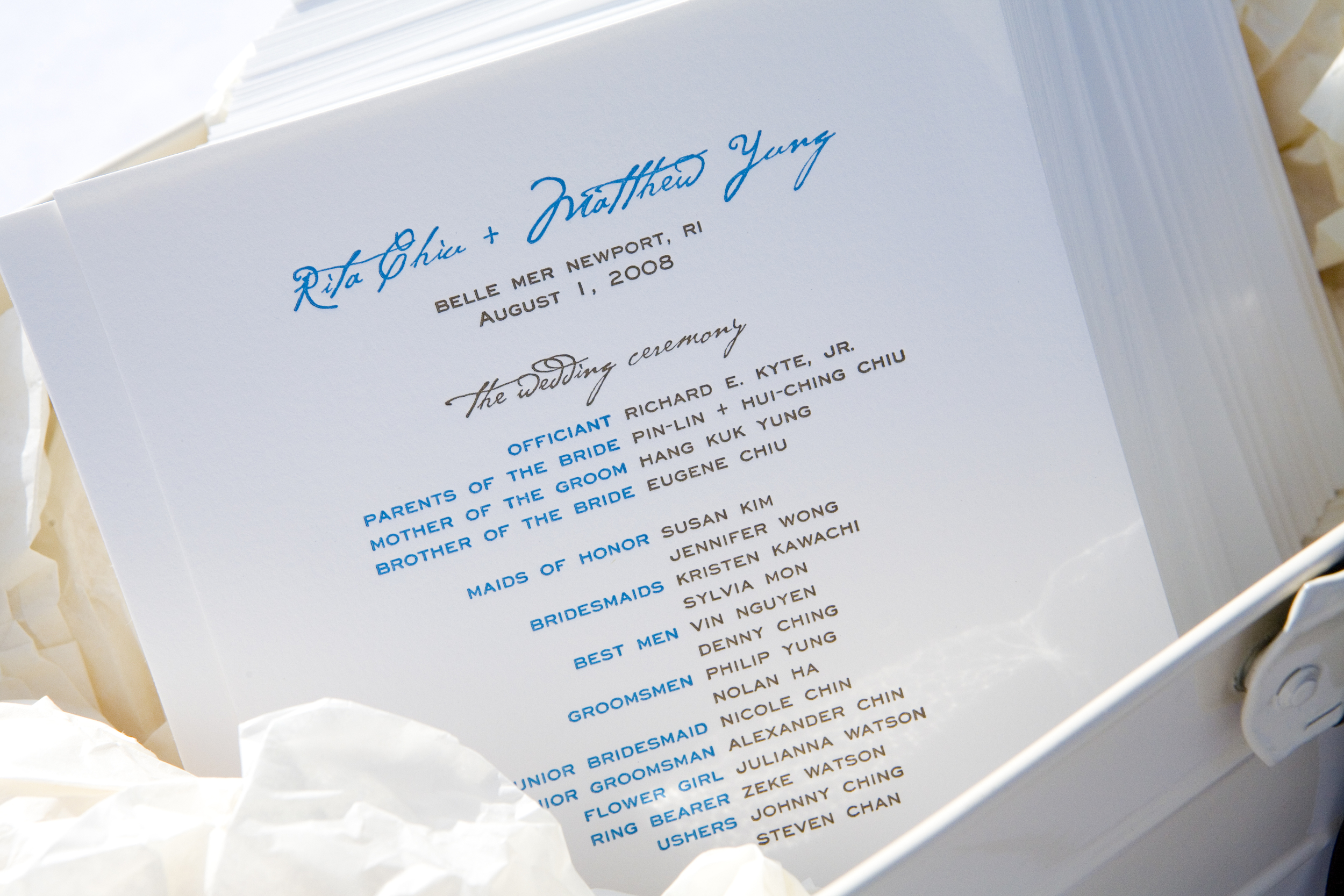 Simple but beautiful letterpress ceremony programs