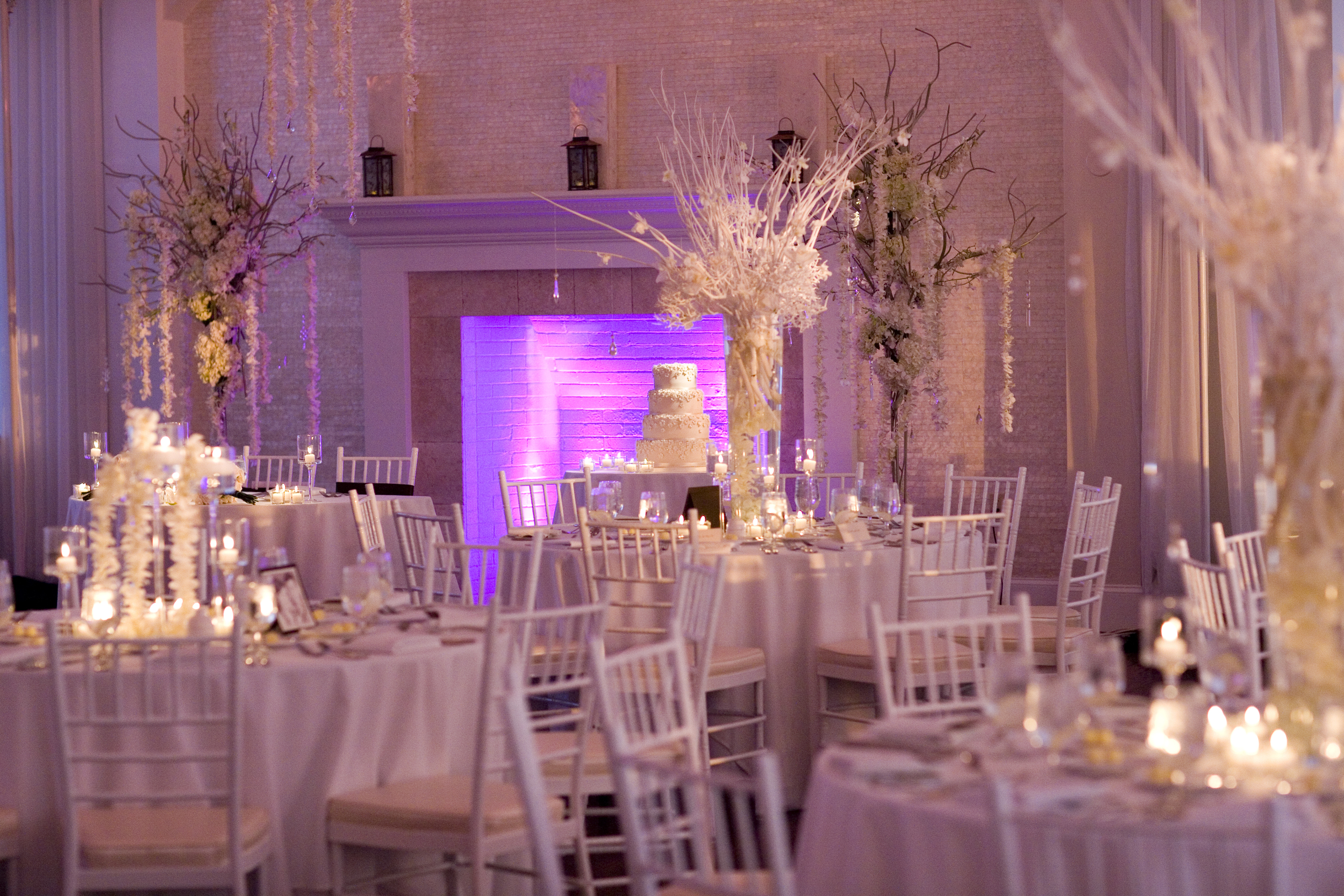 The clean white wedding reception at Belle Mer.
