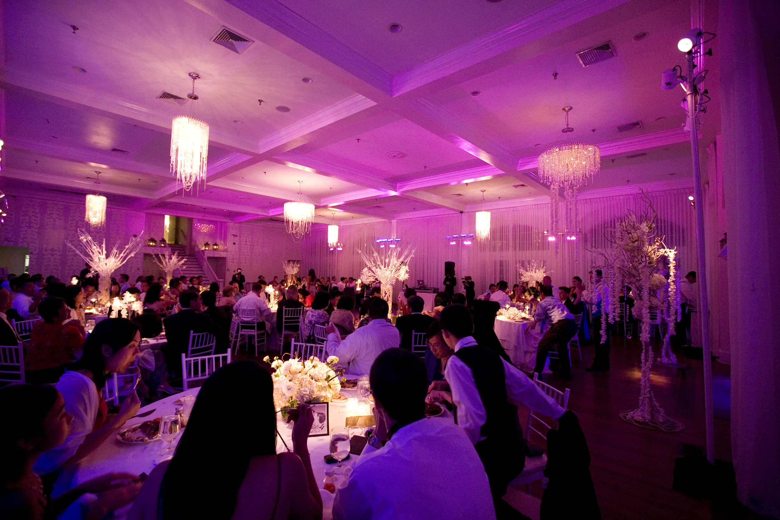 Deeper lighting really makes the room glow while guests are eating and getting ready to dance soon!
