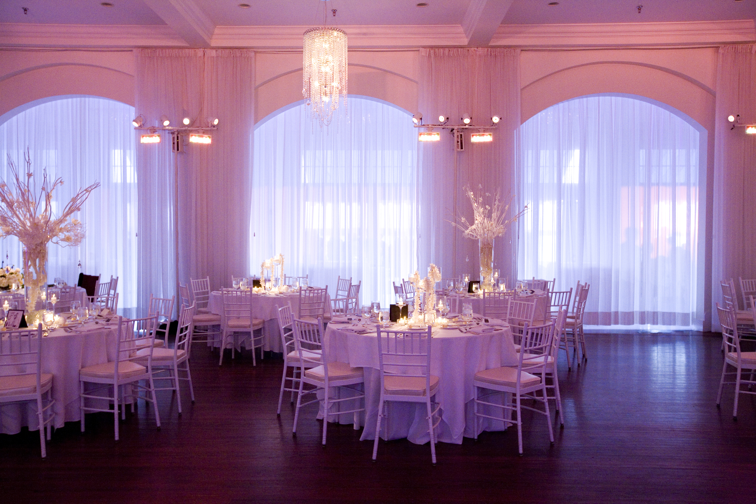 Lavender lighting floods the reception area.