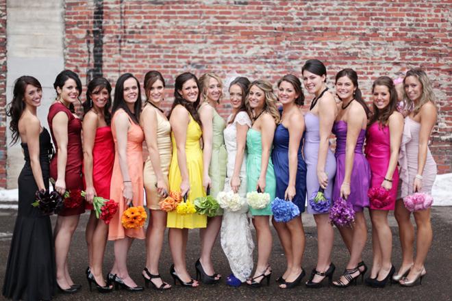 We love this Rainbow Bridesmaids and Bride photo!