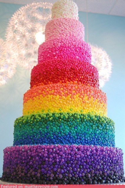 """Rainbow cake with m&ms"""" Yummm... all the labor and love that went into this cake impresses me!"""