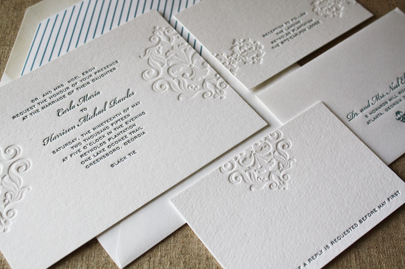 Here is an example of  letterpress . You can see the letterpress indents on the pattern as well. The only difference is the pattern didn't use ink. That process is called embossing.