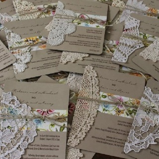 This is a great idea - find vintage doilies and use twine and a pretty colored paper on a simple kraft paper invitation. It takes some time but the personalization on the invitation is so unique!