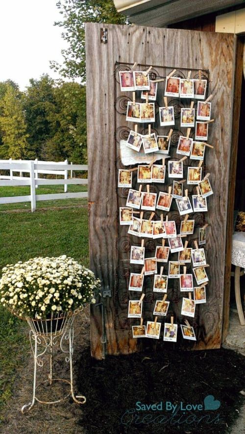 Repurposing this old boxspring to display Polaroid photos for a wedding is smart AND attractive!