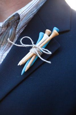 """For the true golf lover, we think this Boutonnière suits them to a """"T"""". (pun intended!)"""