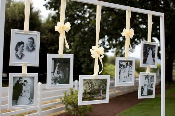 We love this floating photo gallery! You could easily do this indoors as well!