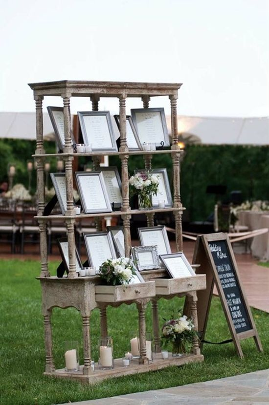 This shabby chic shelving is a great way to display photos!