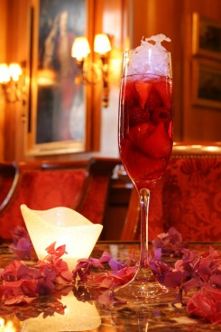 This cocktail from the Four Seasons George V Hotel in Paris is sure to get your attention. We love color and we love that it contained champagne!
