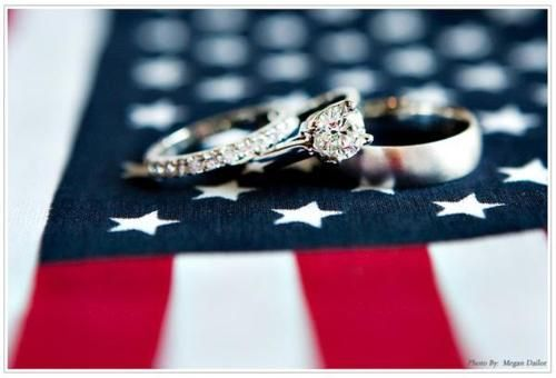 A lovely photo of wedding rings and the American flag.