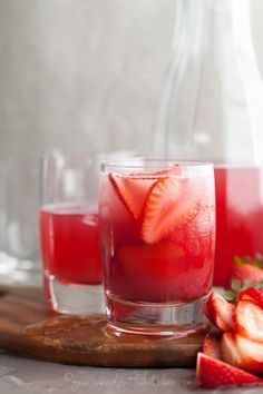 A light and delicious Strawberry Rhubarb Hibiscus Iced Tea!