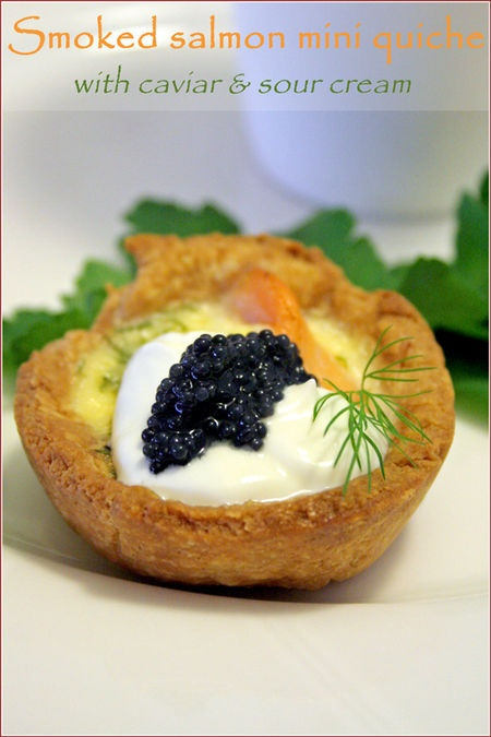 This mini quiche topped with smoked salmon and caviar is beautiful and festive - perfect for a wedding!