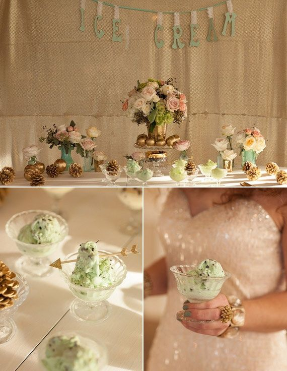 A Mint Ice Cream Display at your wedding? Yes please!