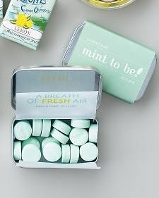 """Mint to be""! These mints (and the DIY for the wrapper) can be found on Martha Stewart Weddings. What a fun idea!"