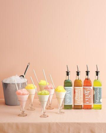 Snow Cones with Mojito, Margarita, Cosmo and Peach Daquiri Syrups? Yes please!