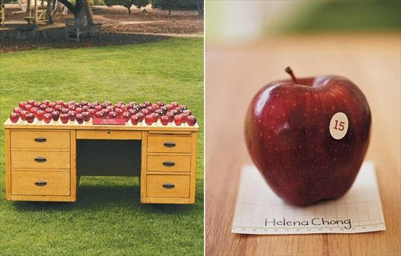 Cute little apple escort cards on a old fashioned teacher's desk? Yes please!
