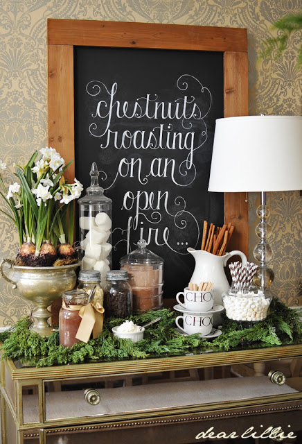 This hot chocolate station is so inviting and we think it looks so elegant!