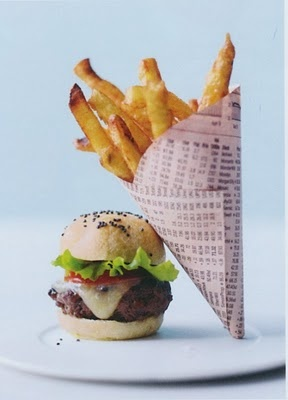 The quintessential burger and fries done in mini version. We are huge fans of Peter Callahan Catering and his artful creations! This mini burger and mini cone of fries looks perfect!