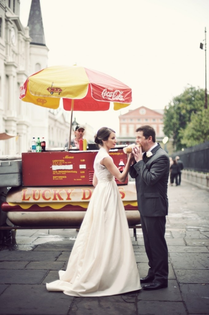 If you are lucky enough to get married in New Orleans where Lucky Dogs are king, then this photo opp should be on your must do list! Better yet, rent a Lucky Dog cart to be at your wedding for late night snacks!