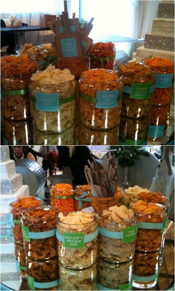 Candy Buffets are all the rage at a party but a Chips Bar is so genius! Doesn't anyone out there want me to create a Chip bar for their event? Anyone??