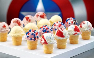 These mini cones from  Baskin Robbins  are totally adorable and customizable. July 4th is usually pretty warm and what could be better than cooling off with some yummy ice cream!